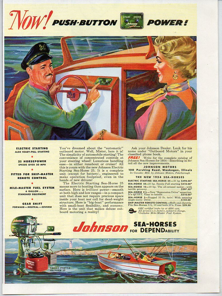 1954 Vintage Ad Johnson Sea-Horse 25 HP Outboard Motors Waukegan,Illinois