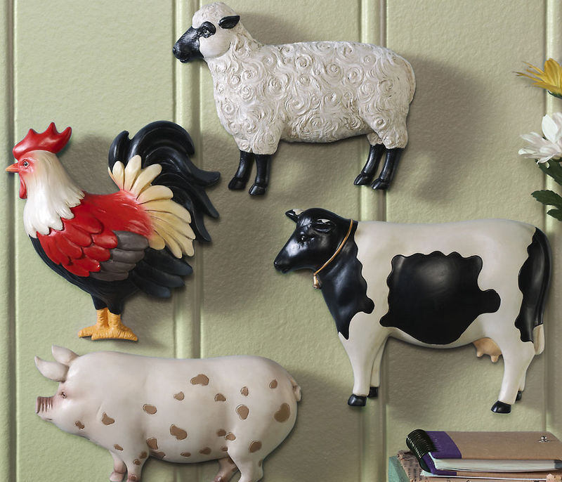 Image 0 of Country Farm Animal Wall Decor Set of Four
