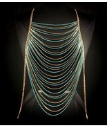 Body Chain Turquoise Gold Draping Chains Armor ... - $23.99