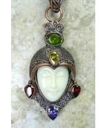 Hand Carved Goddess with Amethyst Garnet Citrin... - $101.42