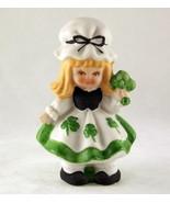 Lefton Irish girl figurine with shamrocks porcelain bisque made in Japan - $10.00