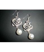 Beautiful Rose Imitation Pearl Silver Dangle Ea... - $10.00