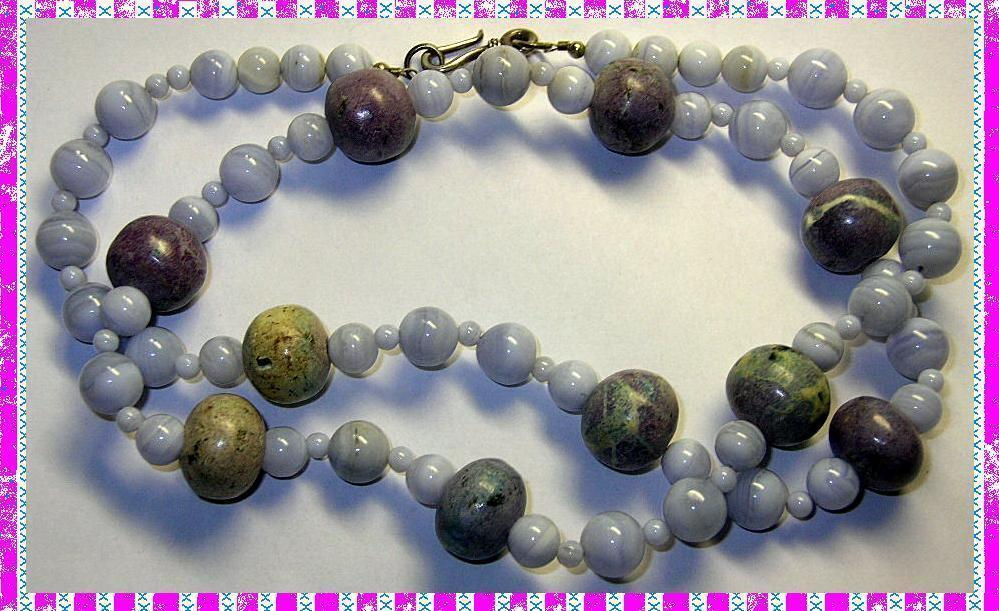 Vintage necklace lace agate stone beads sterling clasp