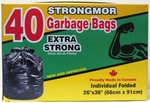 Large garbage bag extra strong. 26'' by 36''.