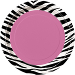 "Assiettes Zebra passion en carton 7"" 8 par paquet"