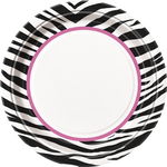 "Assiettes Zebra passion en carton 9"" 8 par paquet"