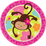 Assiette ronde 9'' Monkey love 8 par paquet