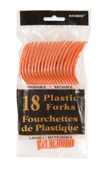Fourchettes en plastique orange 18 par paquet