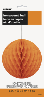 Boule décorative suspendue papier crépon orange  8 ''