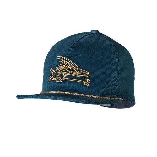 Patagonia pinstripe flying fish corduroy hat crater blue for Patagonia fish hat