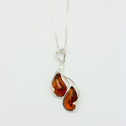 Sterling Silver Curved Amber Pendant Necklace