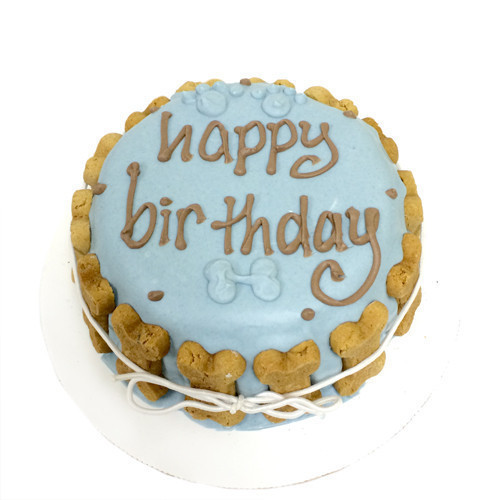White Blue Dog Happy Birthday Cake By Bubba Rose