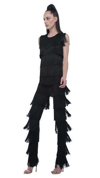 boot pant all over fringe by norma kamali piajeh