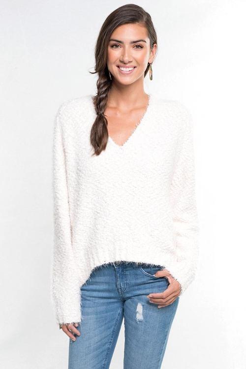 Fuzzy Popcorn V Neck Sweater Winter White