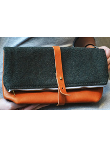 leather forest green foldover clutch