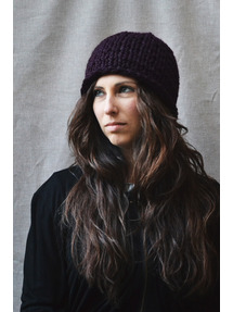 deep purple hand knit hat