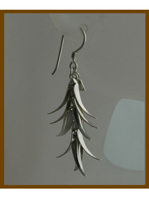 palm leaves sterling silver earring