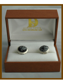 Snow Flake Obsidian cufflinks