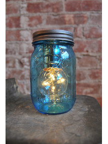 Blue Mason Jar Light