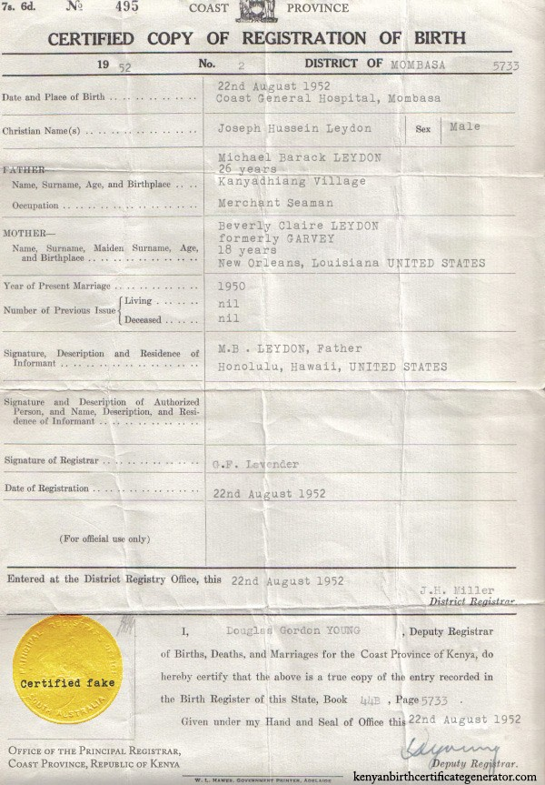 Kenyan Birth Certificate Generator Make Your Own Invalidating