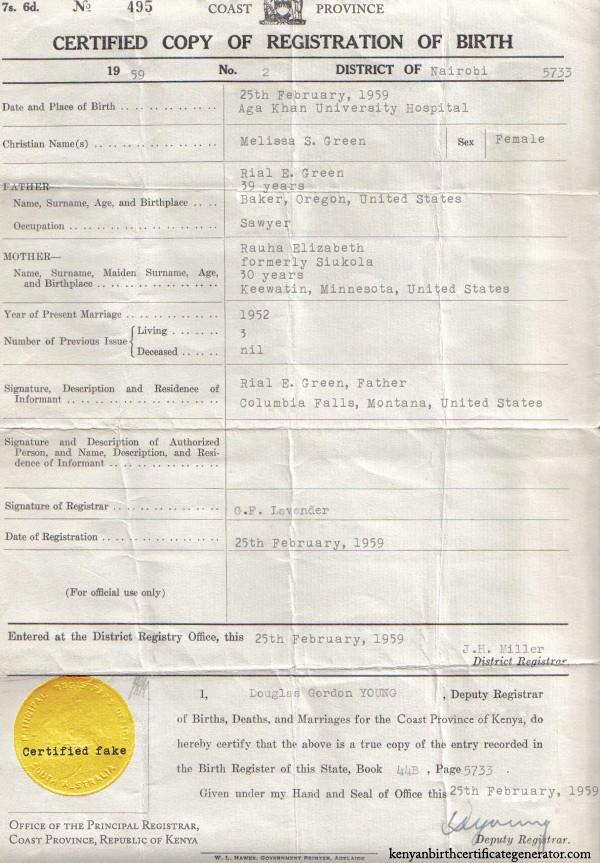Mel's fake Kenyan birth certificate