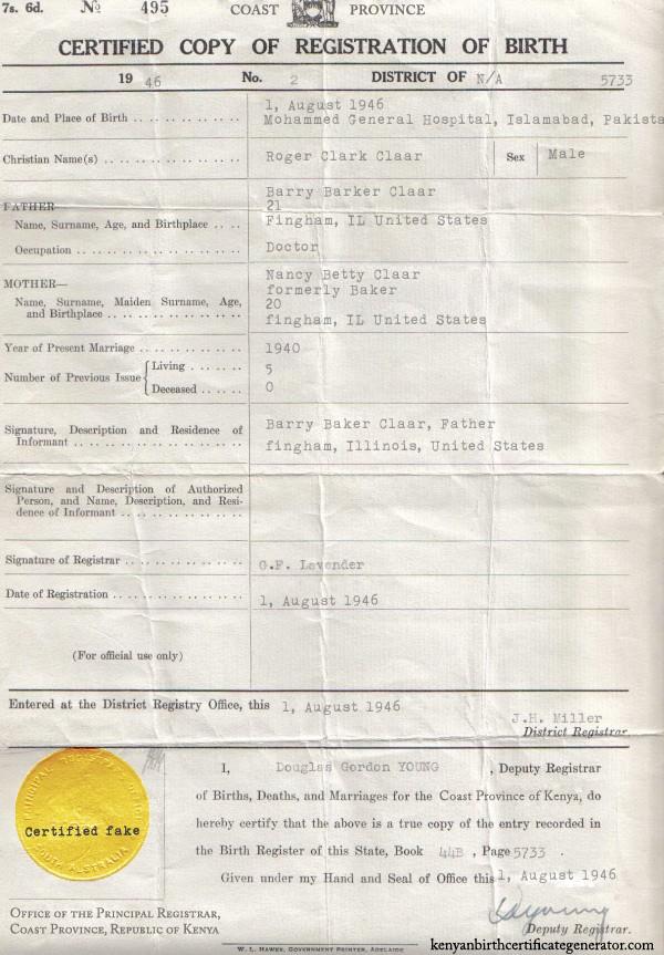 Famoso Birth Certificate Generator Ornamento - Certificado Actas de ...