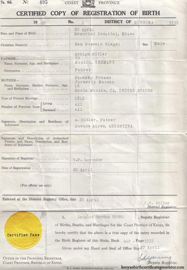 printable fake birth certificate