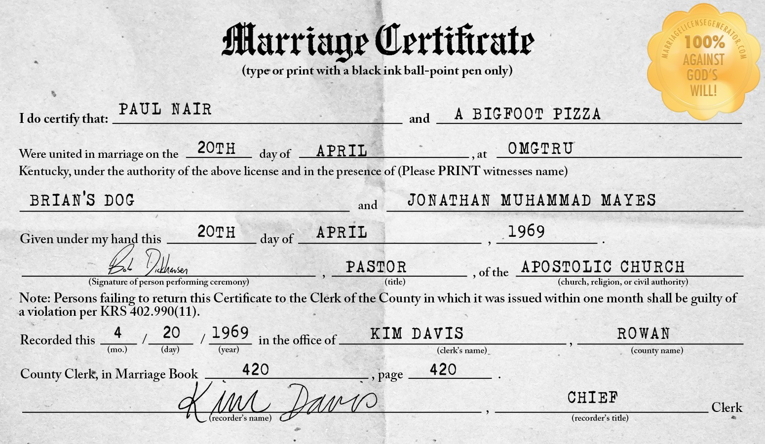 Kentucky Marriage License Generator
