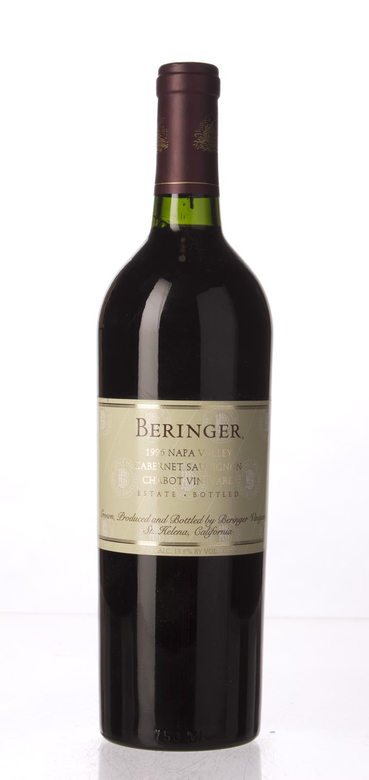 Beringer Cabernet Sauvignon Chabot Vineyard 1996, 750mL (WA93, WS92) from The BPW - Merchants of rare and fine wines.