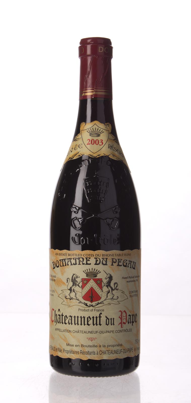 Domaine du Pegau Chateauneuf du Pape Cuvee Reservee 2003, 750mL (HG99, WA98, WS97) from The BPW - Merchants of rare and fine wines.