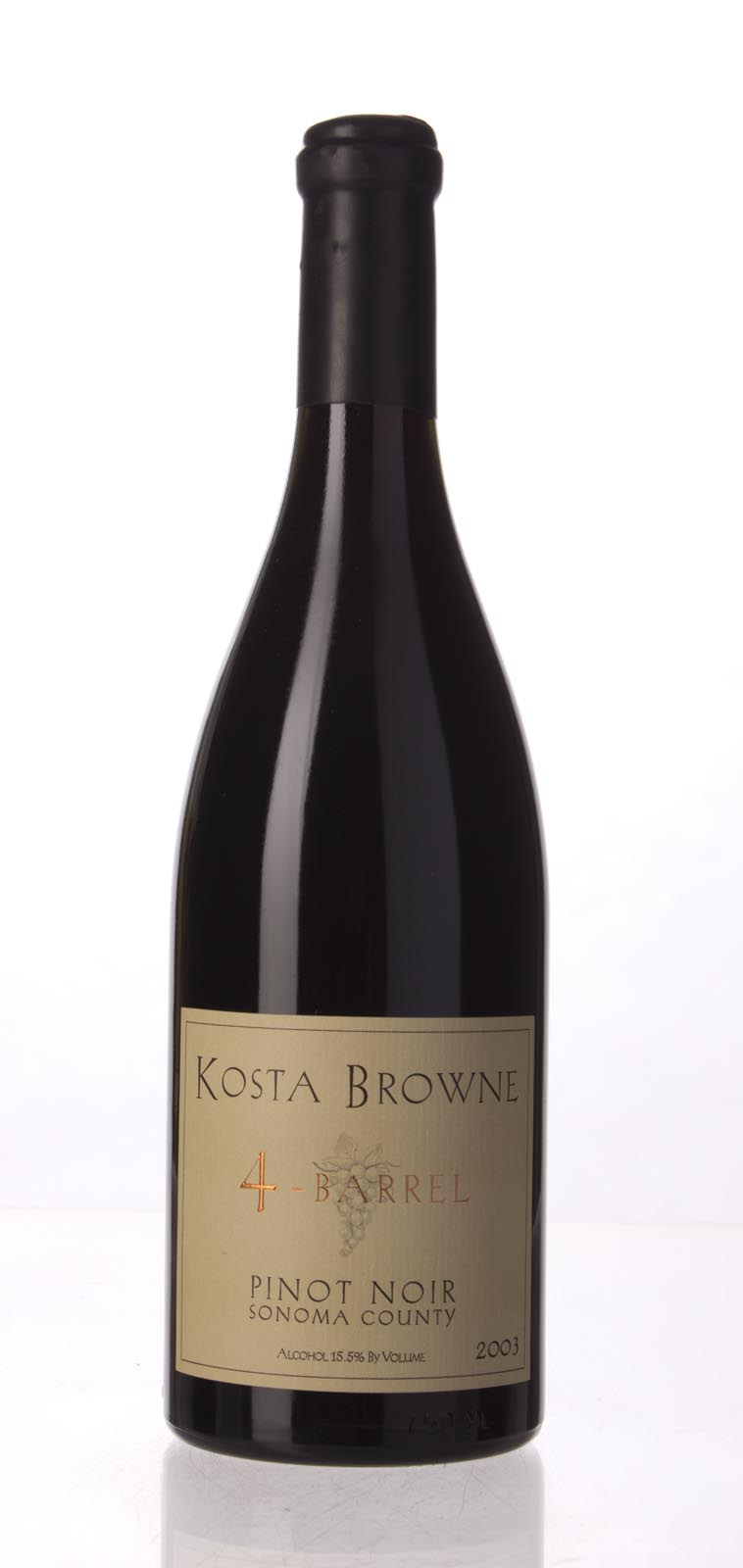 Kosta Browne Pinot Noir 4 Barrel 2003, 750mL (WS90) from The BPW - Merchants of rare and fine wines.