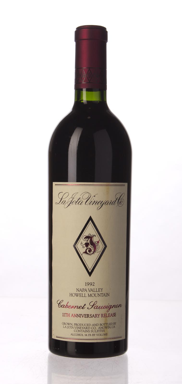 La Jota Cabernet Sauvignon Anniversary Release 1992, 750mL (WA98) from The BPW - Merchants of rare and fine wines.