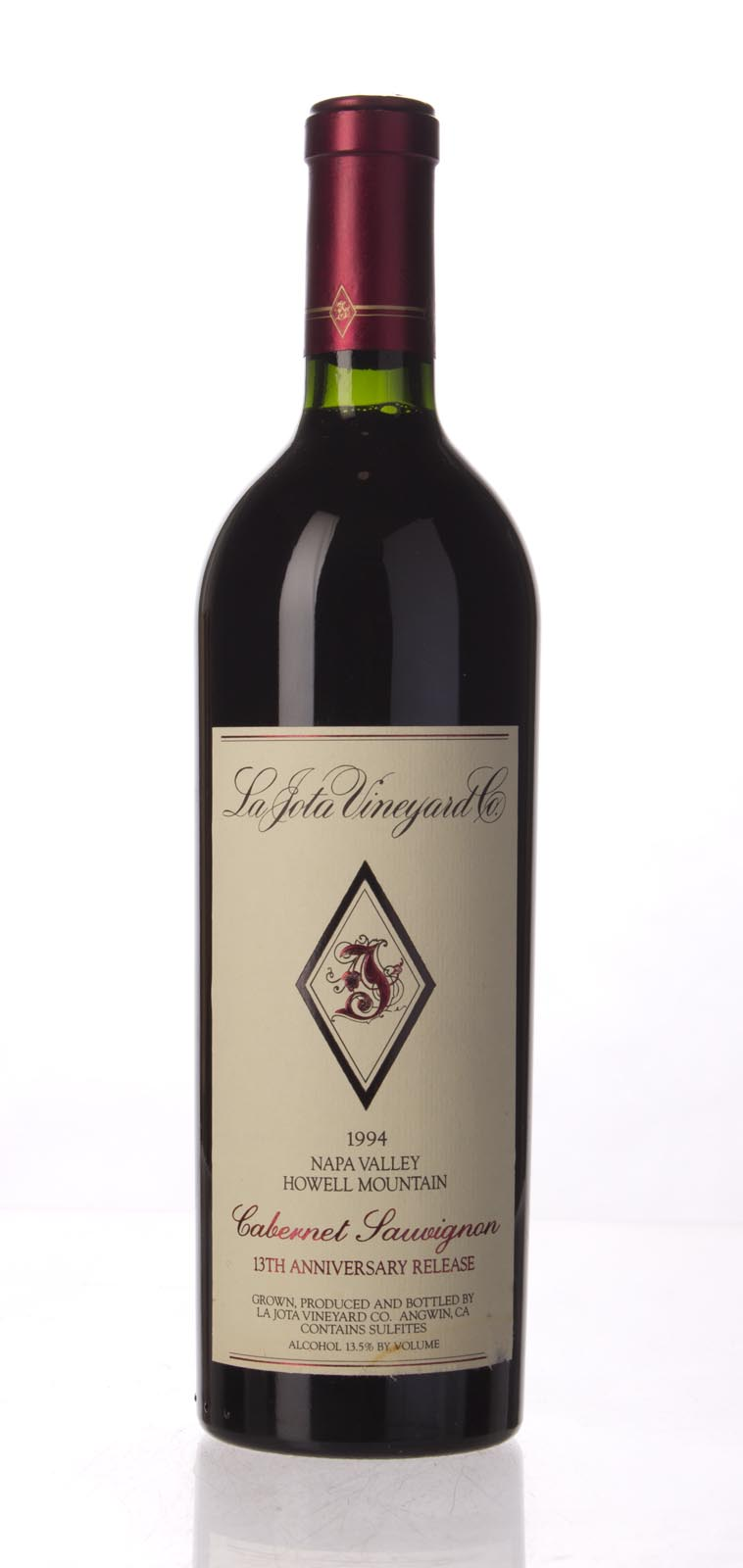 La Jota Cabernet Sauvignon Anniversary Release 1994, 750mL (WA96) from The BPW - Merchants of rare and fine wines.