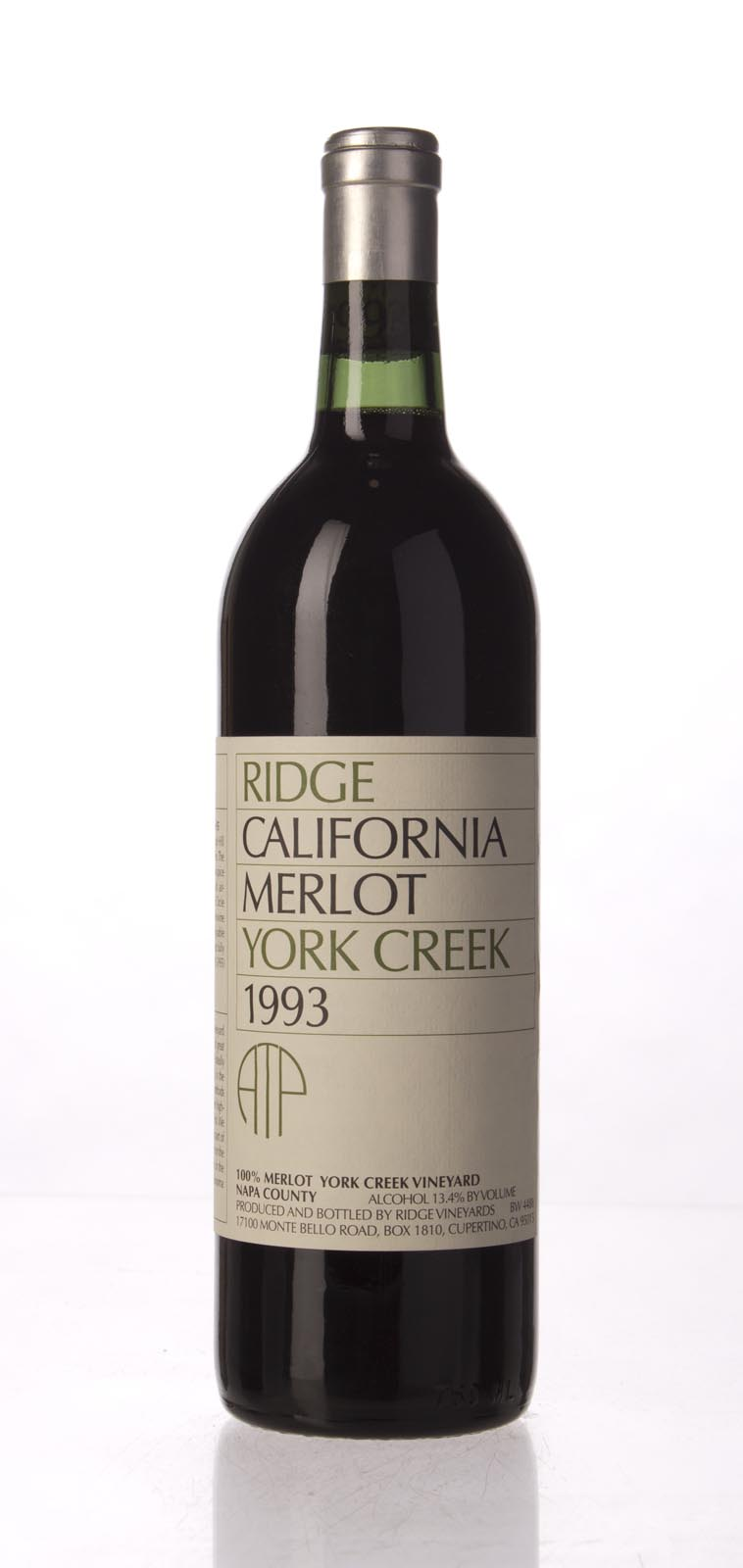 Ridge Merlot York Creek 1993, 750mL () from The BPW - Merchants of rare and fine wines.