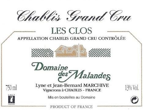 Domaine des Malandes Chablis les Clos 2012,  (BH91-93) from The BPW - Merchants of rare and fine wines.