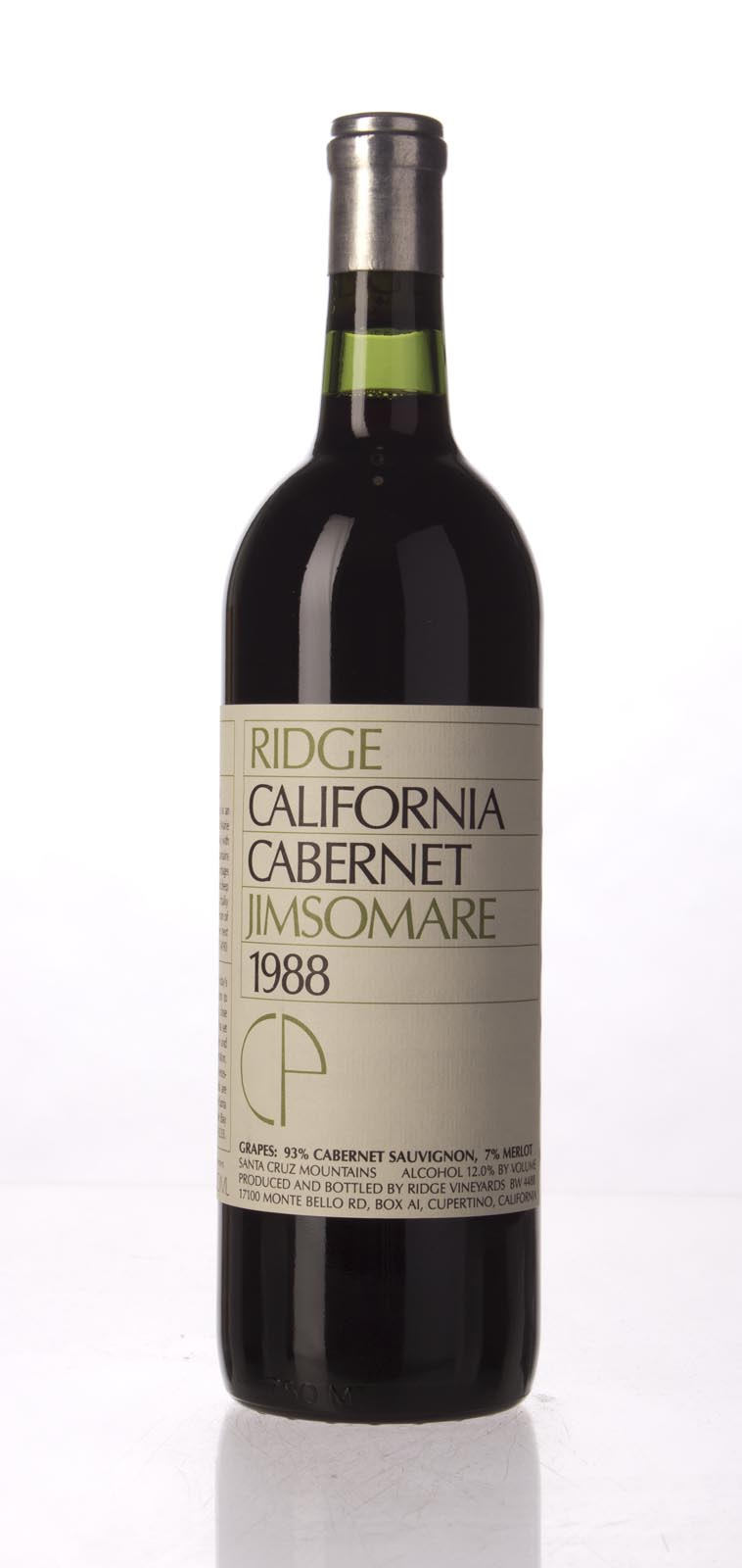 Ridge Cabernet Sauvignon Jimsomare 1988, 750mL () from The BPW - Merchants of rare and fine wines.