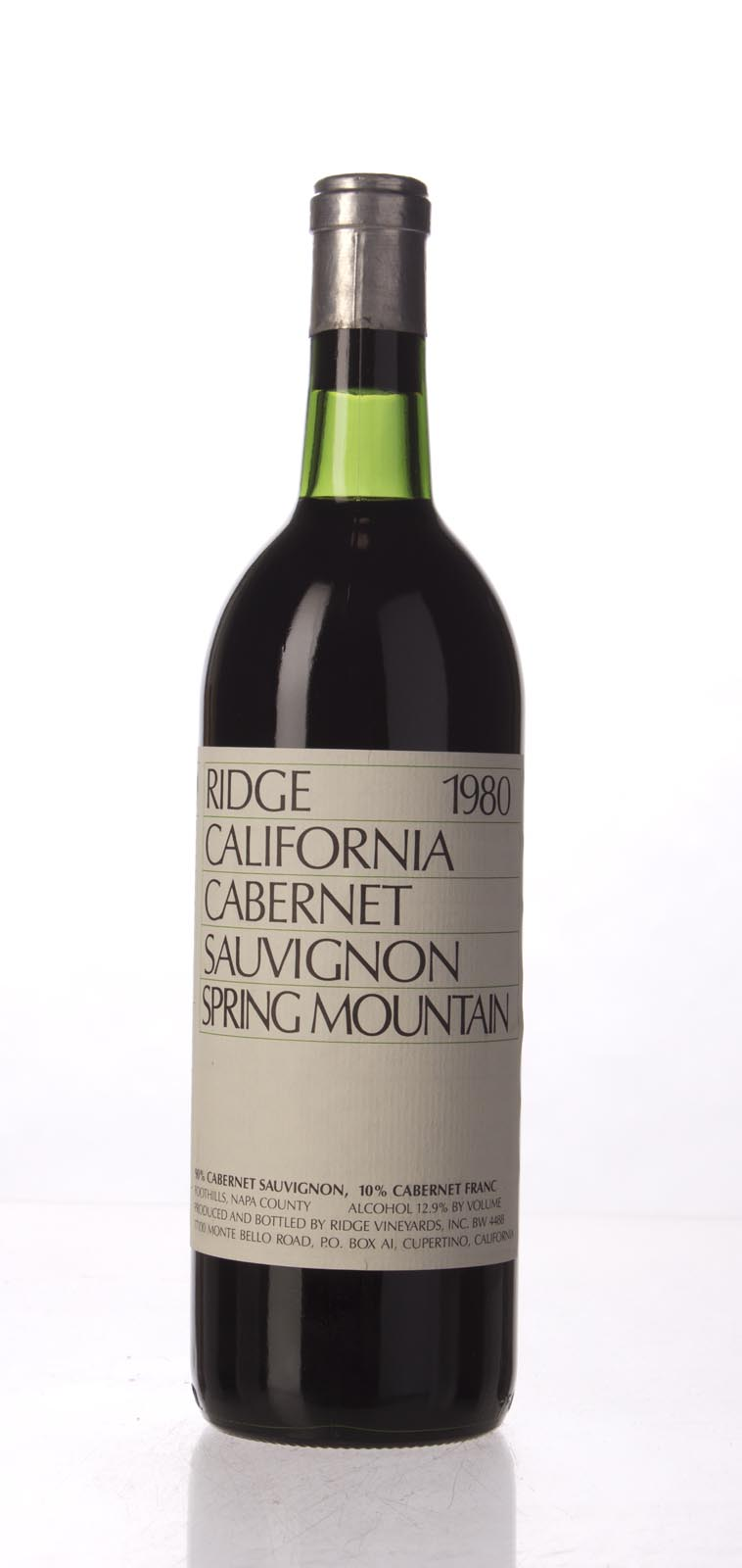 Ridge Cabernet Sauvignon Spring Mountain 1980, 750mL () from The BPW - Merchants of rare and fine wines.