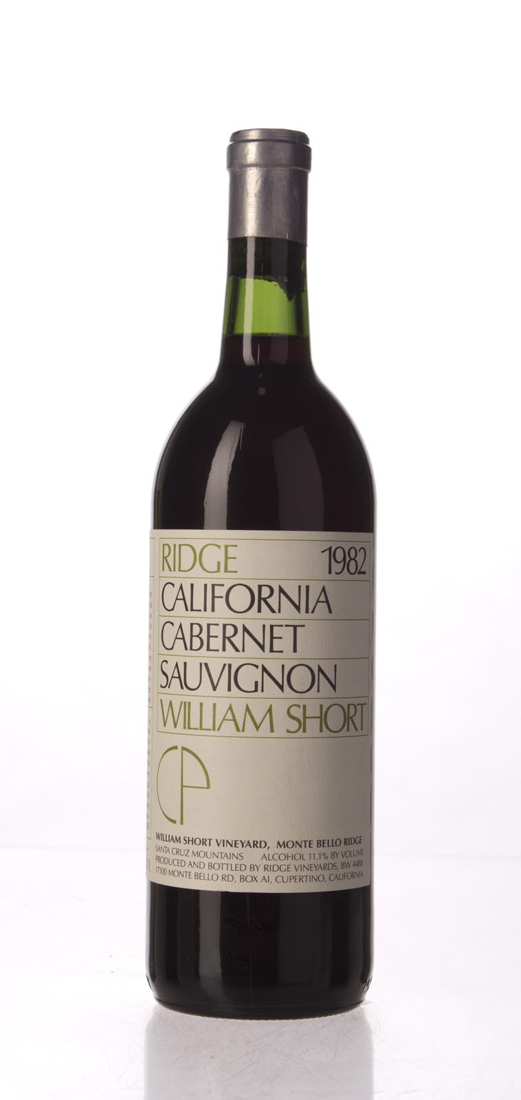 Ridge Cabernet Sauvignon William Short Vineyard 1982, 750mL () from The BPW - Merchants of rare and fine wines.