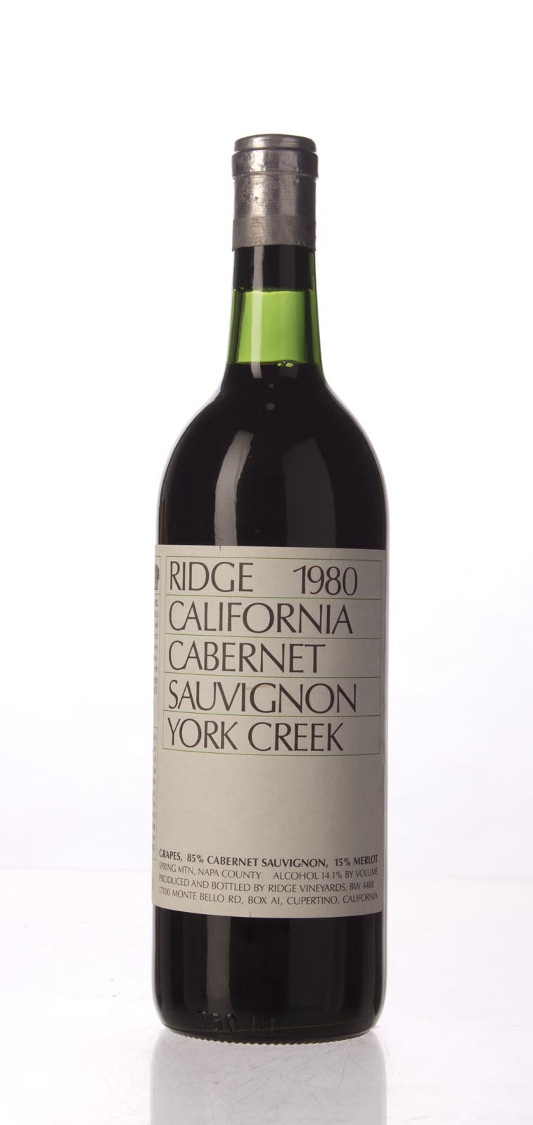 Ridge Cabernet Sauvignon York Creek 1980, 750mL () from The BPW - Merchants of rare and fine wines.