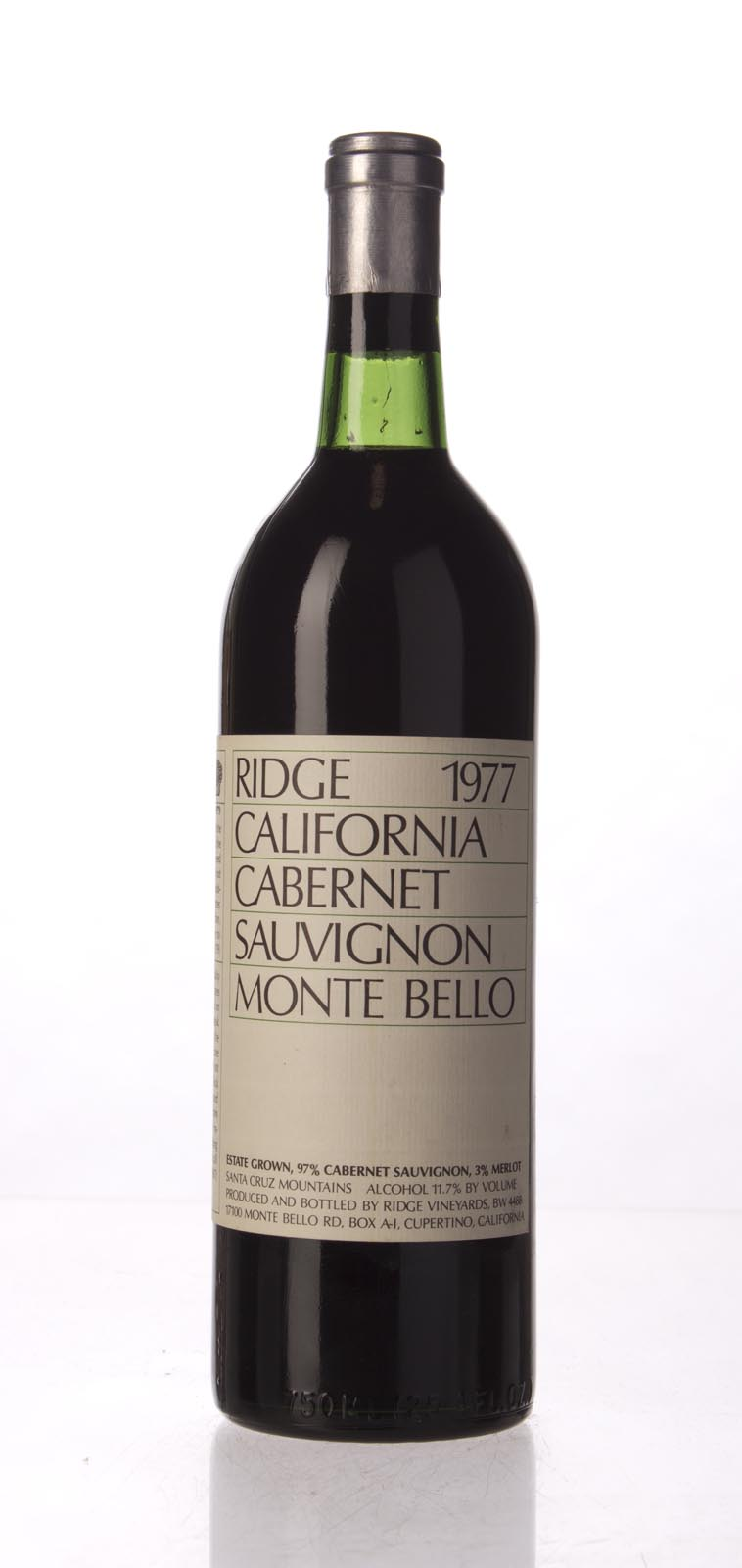 Ridge Monte Bello 1977, 750mL (WA92) from The BPW - Merchants of rare and fine wines.