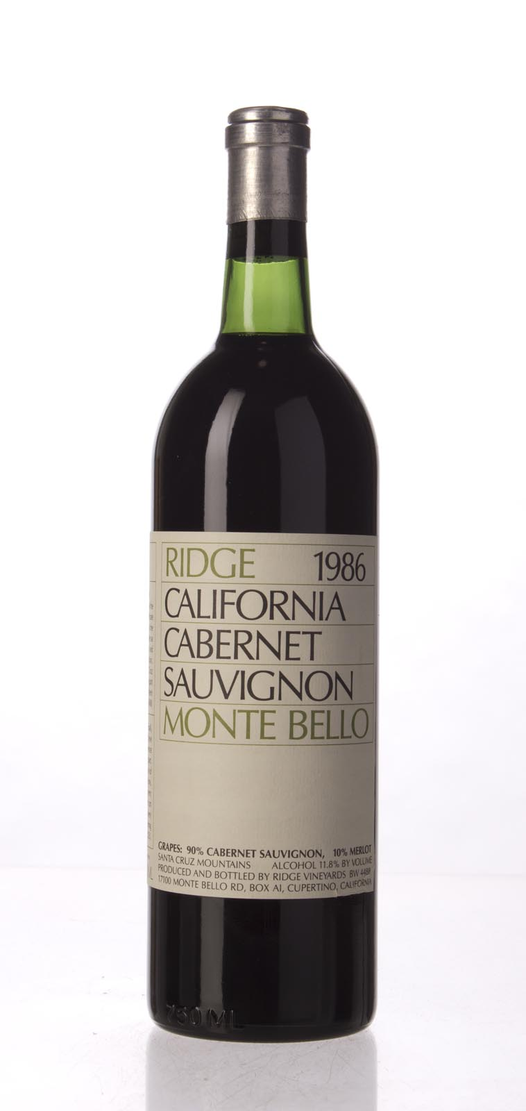 Ridge Monte Bello 1986, 750mL () from The BPW - Merchants of rare and fine wines.
