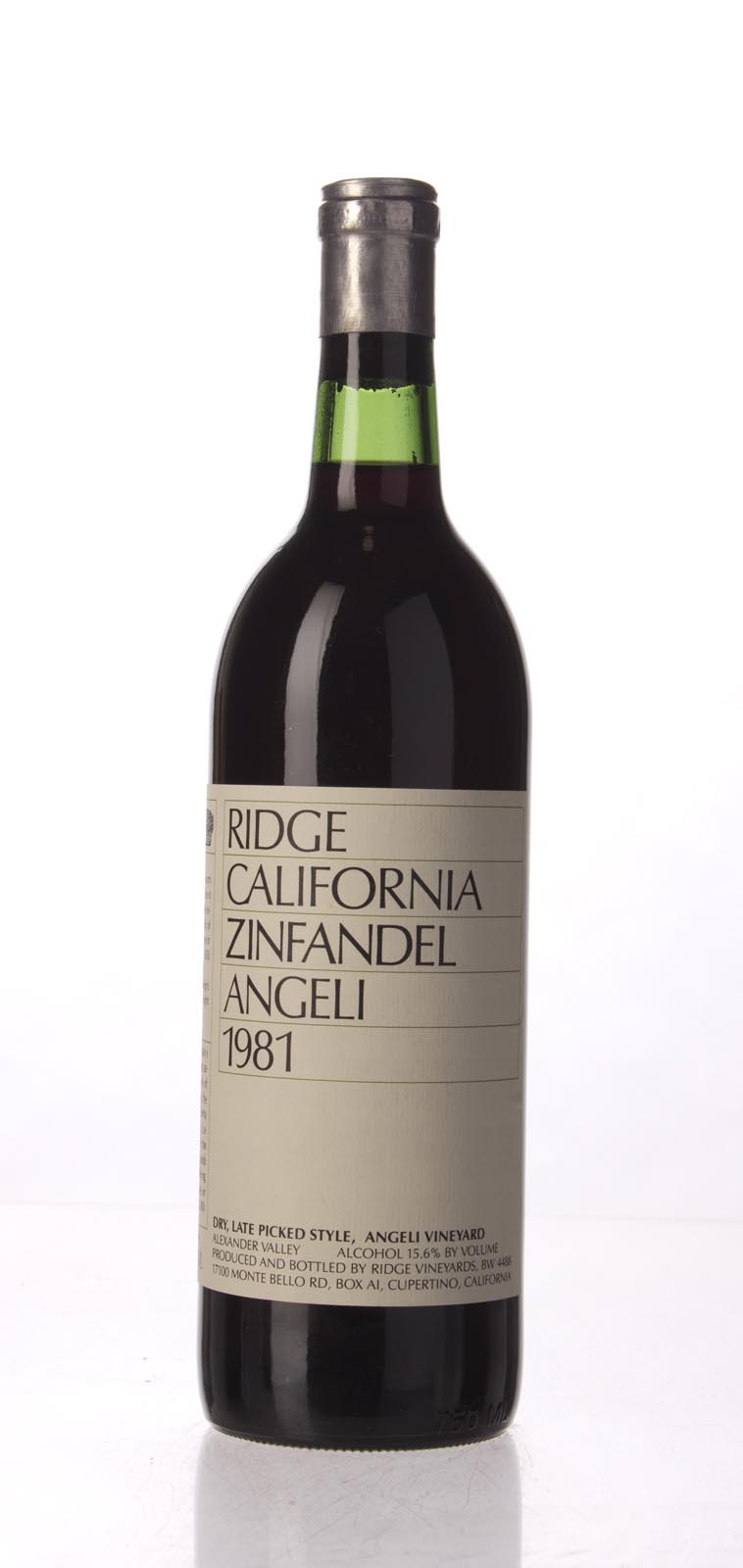 Ridge Zinfandel Angeli Dry Late Picked 1981,  () from The BPW - Merchants of rare and fine wines.