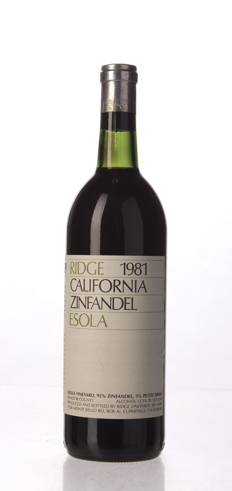 Ridge Zinfandel Esola Vineyard 1981, 750mL () from The BPW - Merchants of rare and fine wines.
