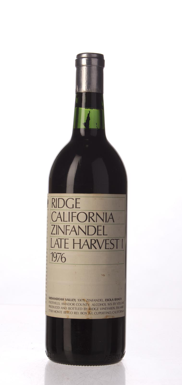 Ridge Zinfandel Late Harvest 1976,  () from The BPW - Merchants of rare and fine wines.
