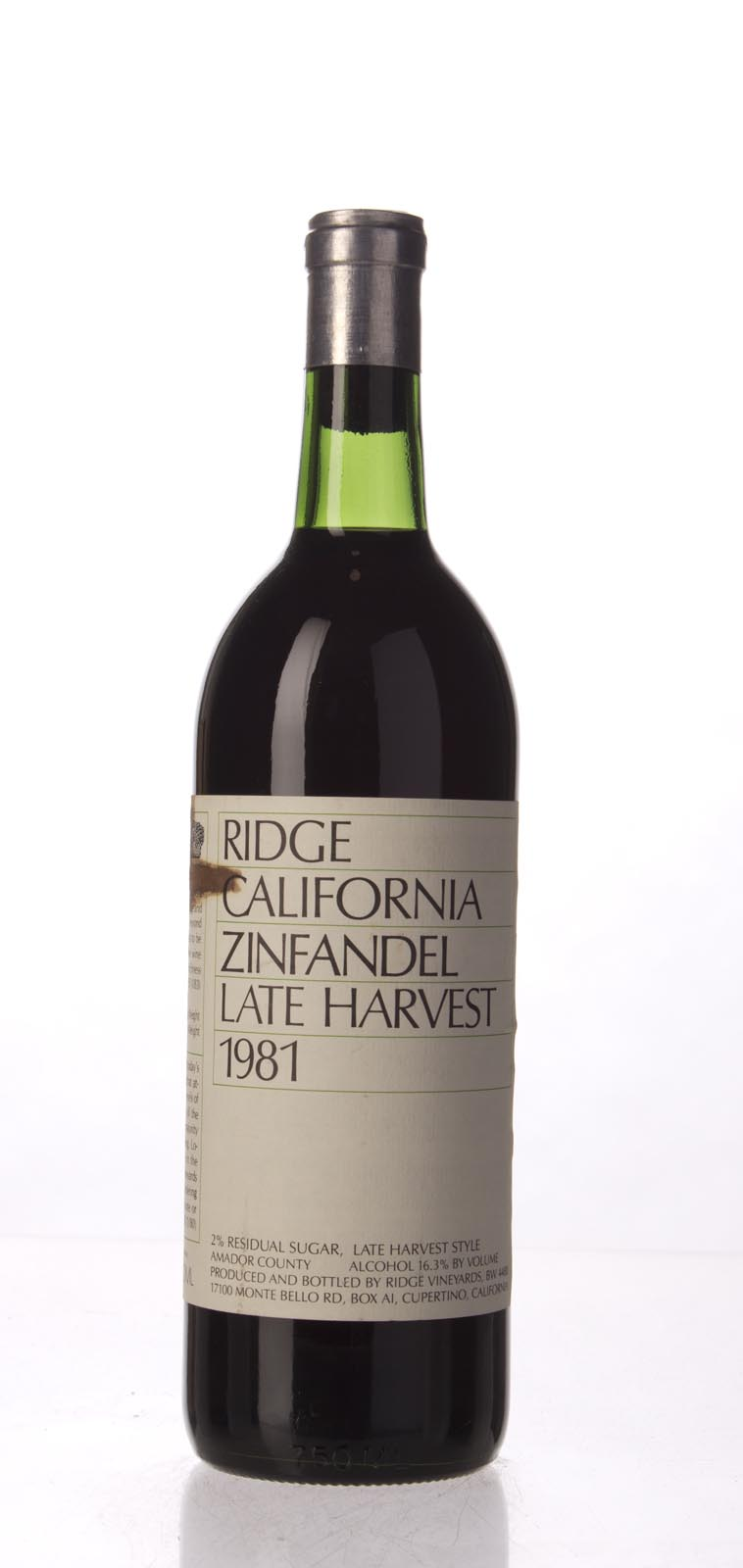 Ridge Zinfandel Late Harvest 1981, 750mL () from The BPW - Merchants of rare and fine wines.