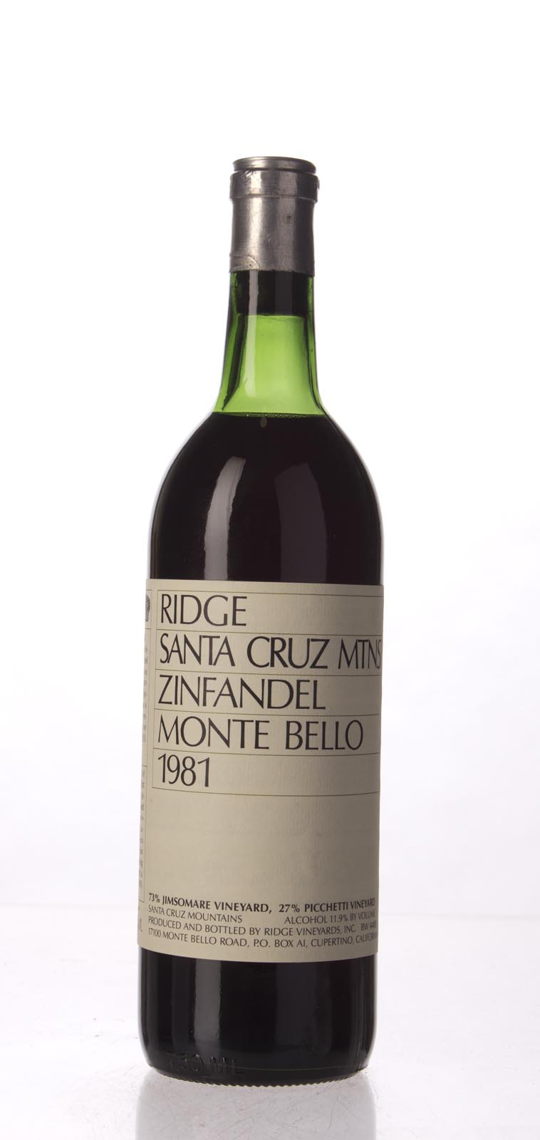 Ridge Zinfandel Monte Bello 1981, 750mL () from The BPW - Merchants of rare and fine wines.