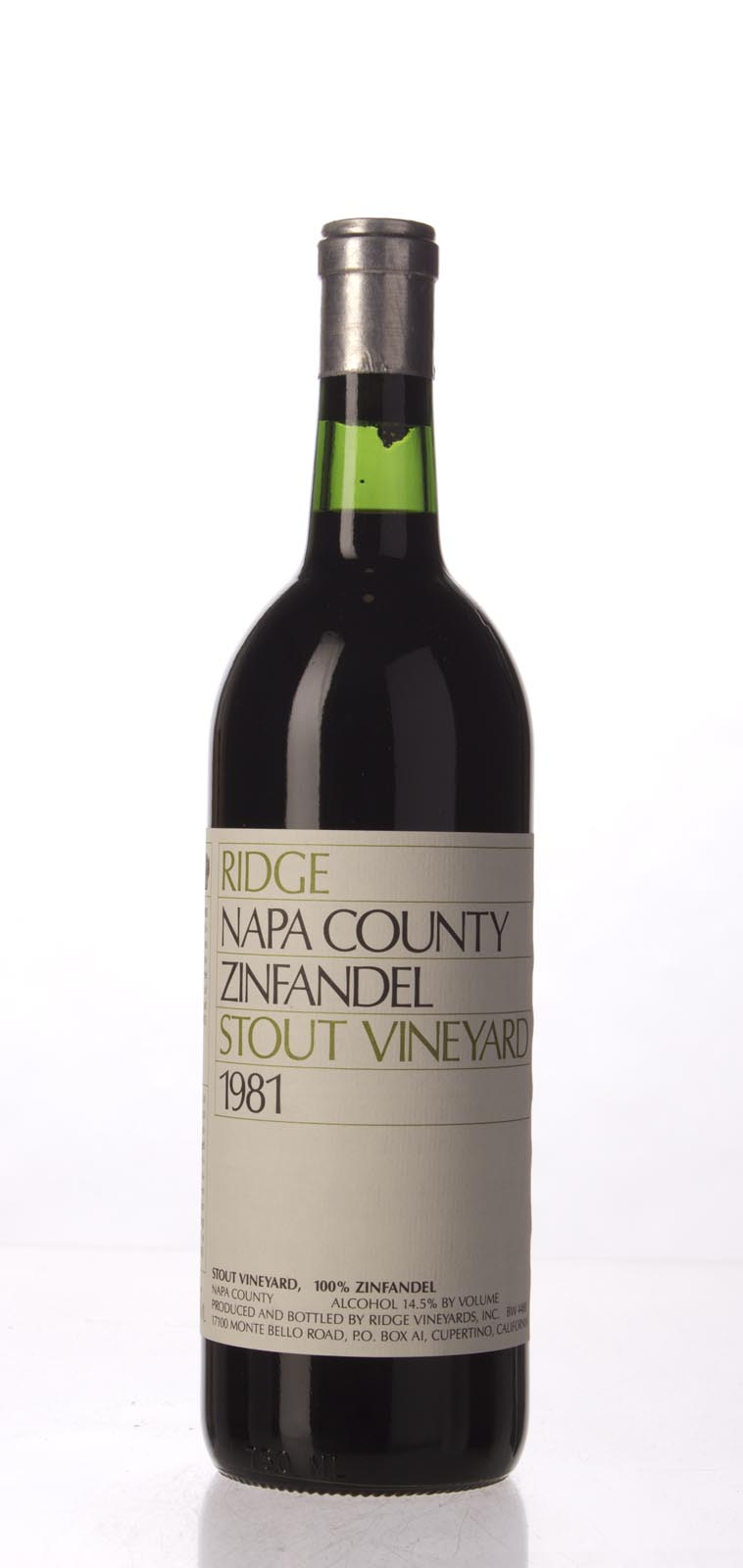 Ridge Zinfandel Stout Vineyard 1981,  () from The BPW - Merchants of rare and fine wines.