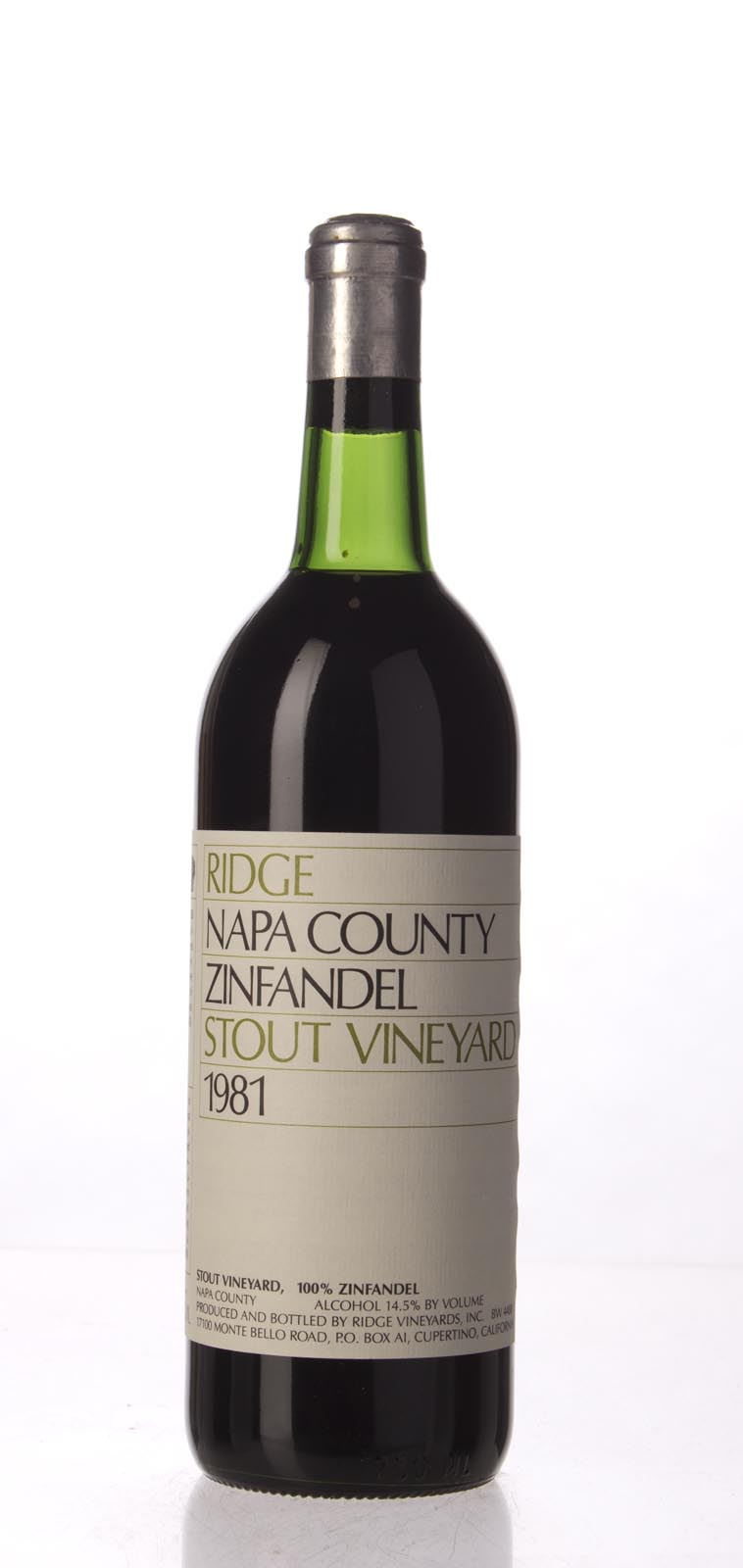 Ridge Zinfandel Stout Vineyard 1981, 750mL () from The BPW - Merchants of rare and fine wines.