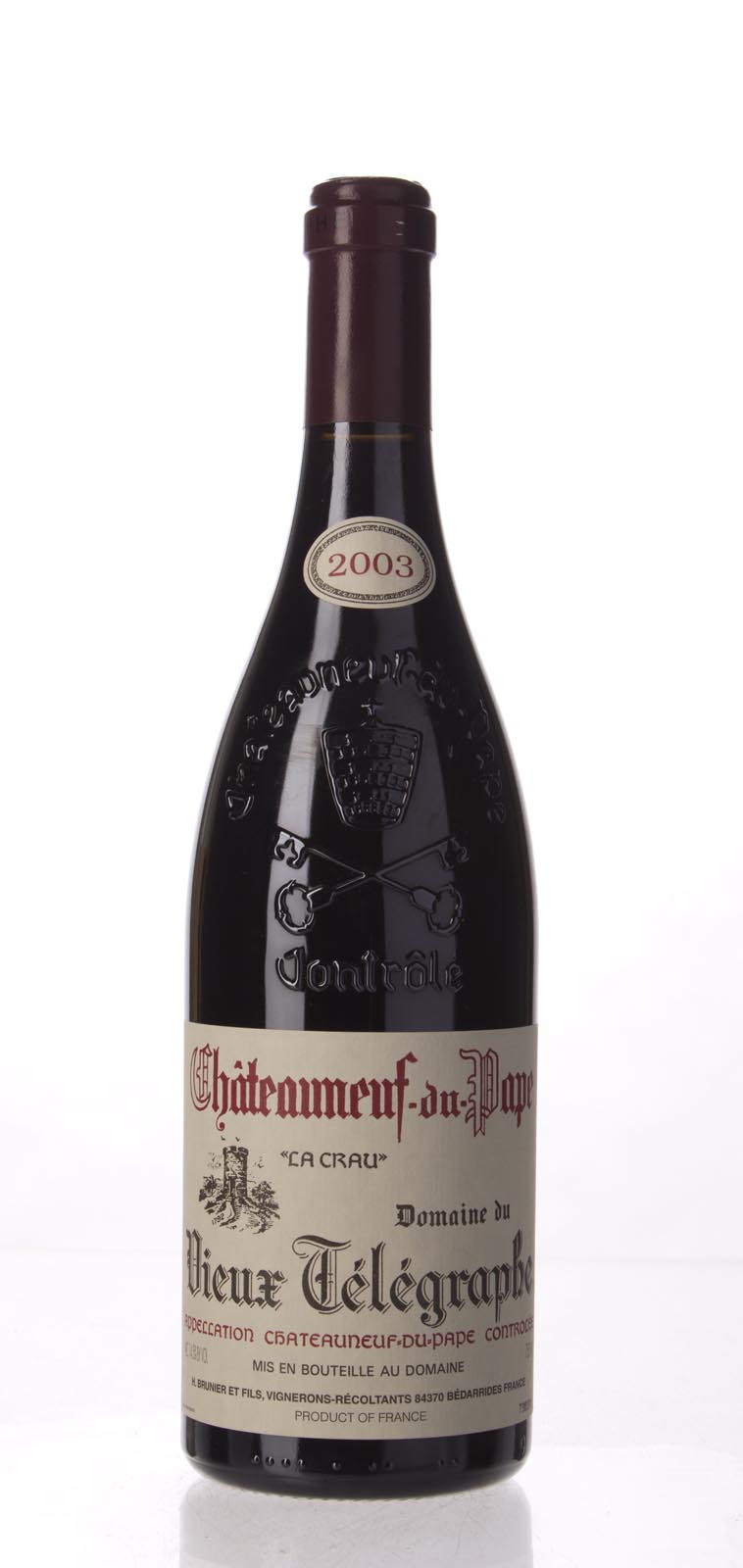 Domaine du Vieux Telegraphe Chateauneuf du Pape 2003, 750mL (WA92, WS93) from The BPW - Merchants of rare and fine wines.