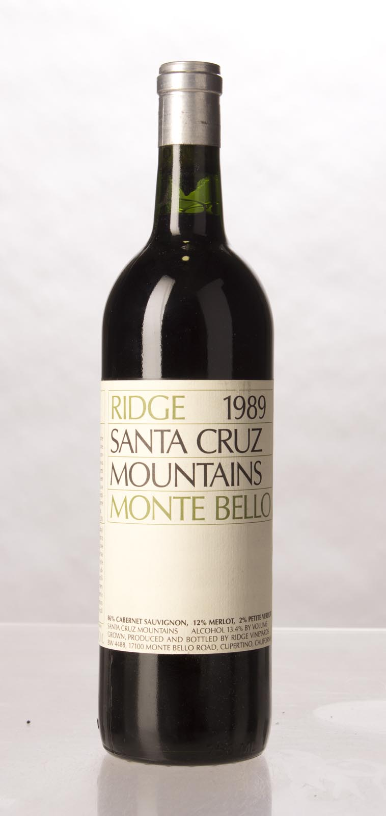 Ridge Monte Bello 1989,  (WS92) from The BPW - Merchants of rare and fine wines.